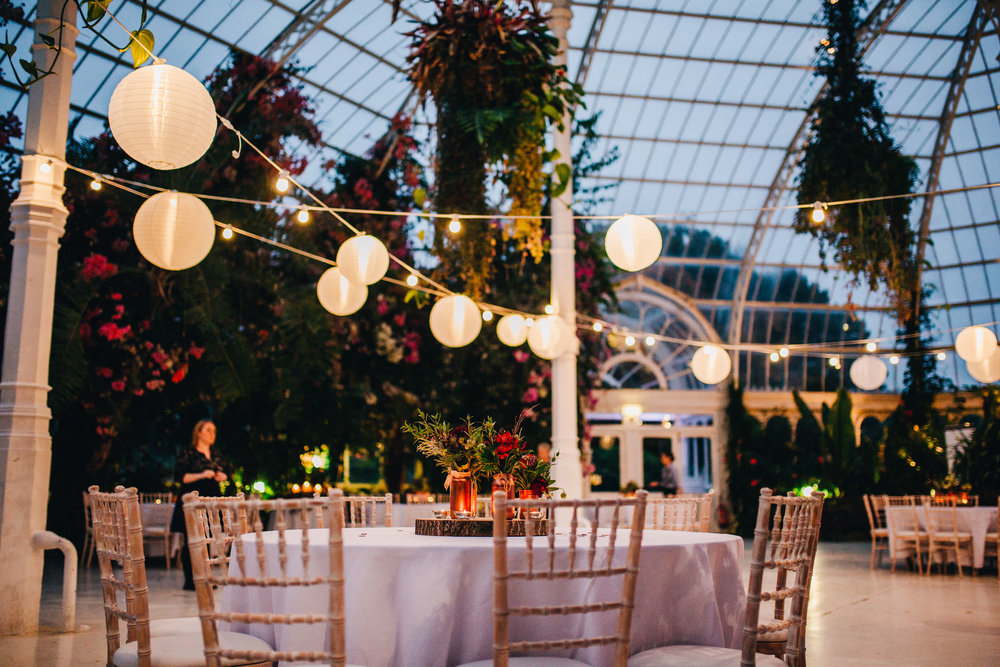 interior of sefton palm house - set up for the night