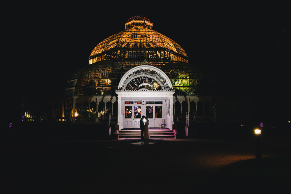night time portraits outside sefton palm house