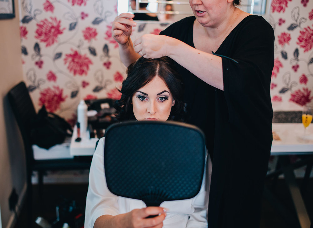 close up of hair and make up - cheshire wedding