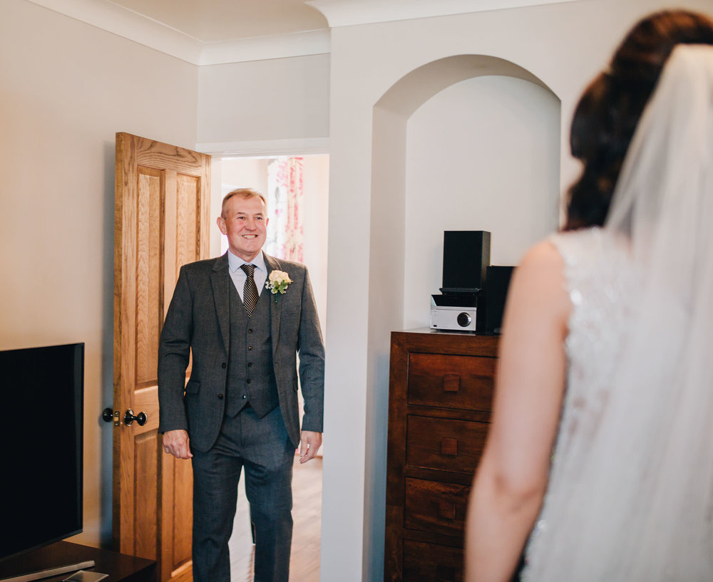 dad sees his daughter - cheshire wedding photographer