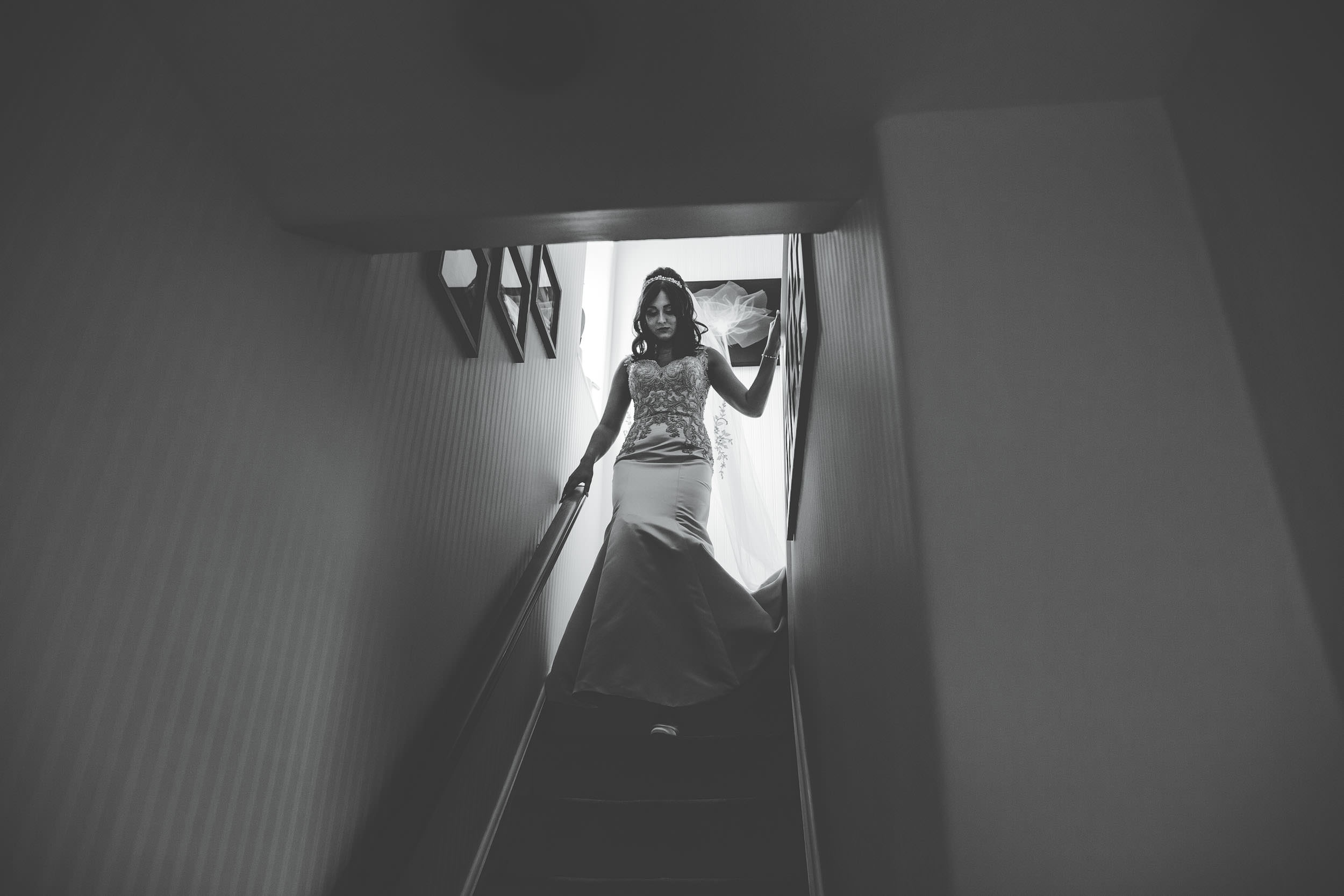 walking down the stairs - same sex wedding cheshire
