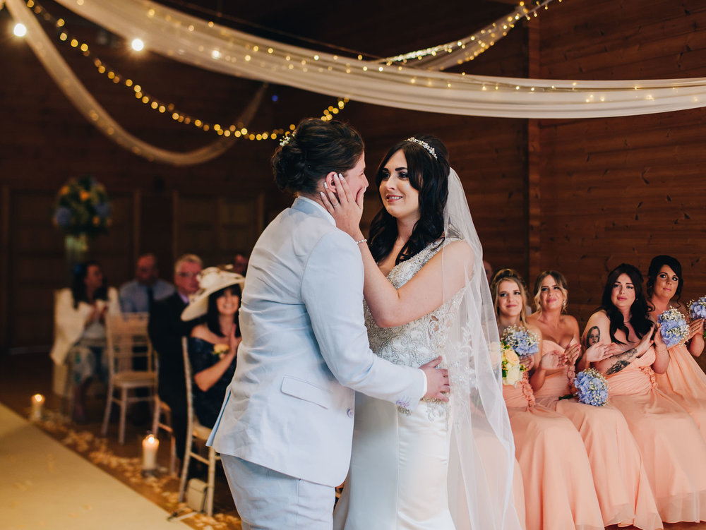 first kiss - cheshire wedding photography