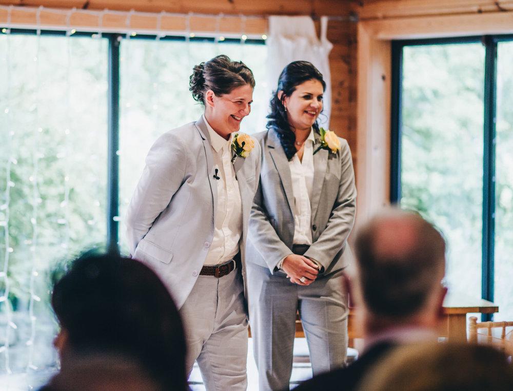 bride laughs nervously - same sex wedding