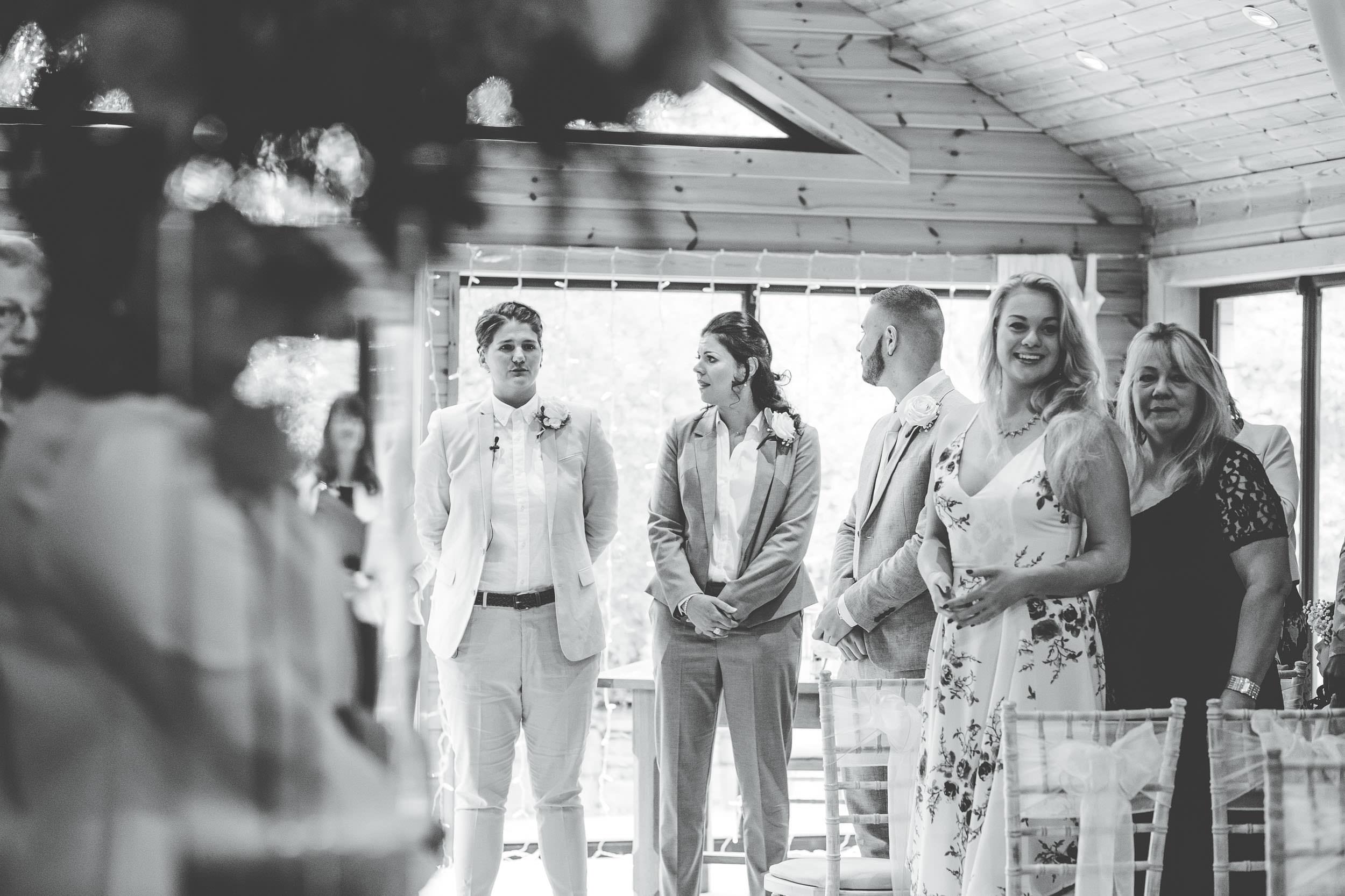 bride gets emotional at Styal Lodge wedding