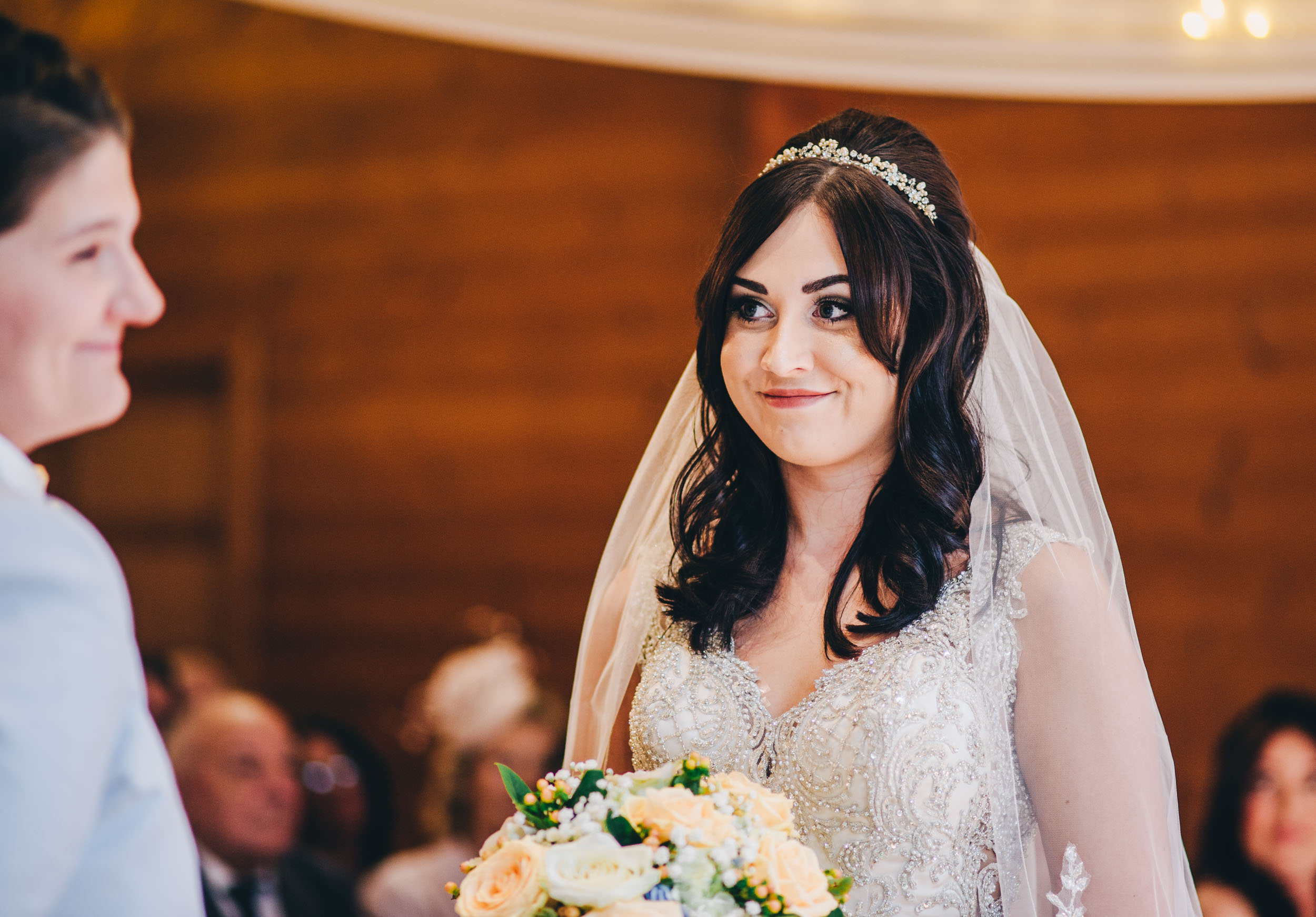 smiling bride - beautiful wedding pictures cheshire