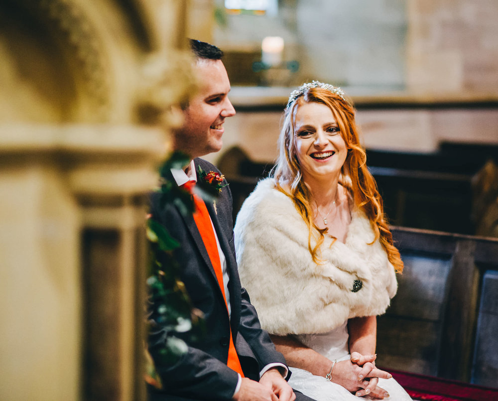 laughter - lake district church ceremony