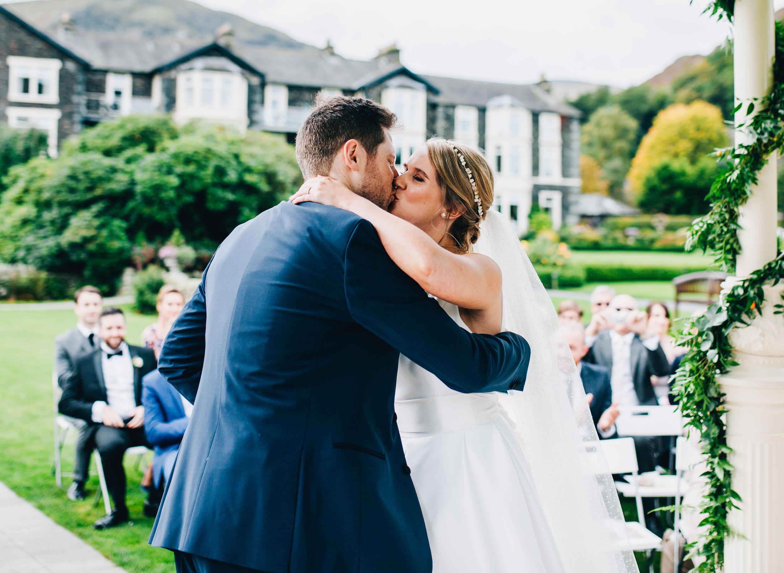first kiss - Lake Distirct wedding photography