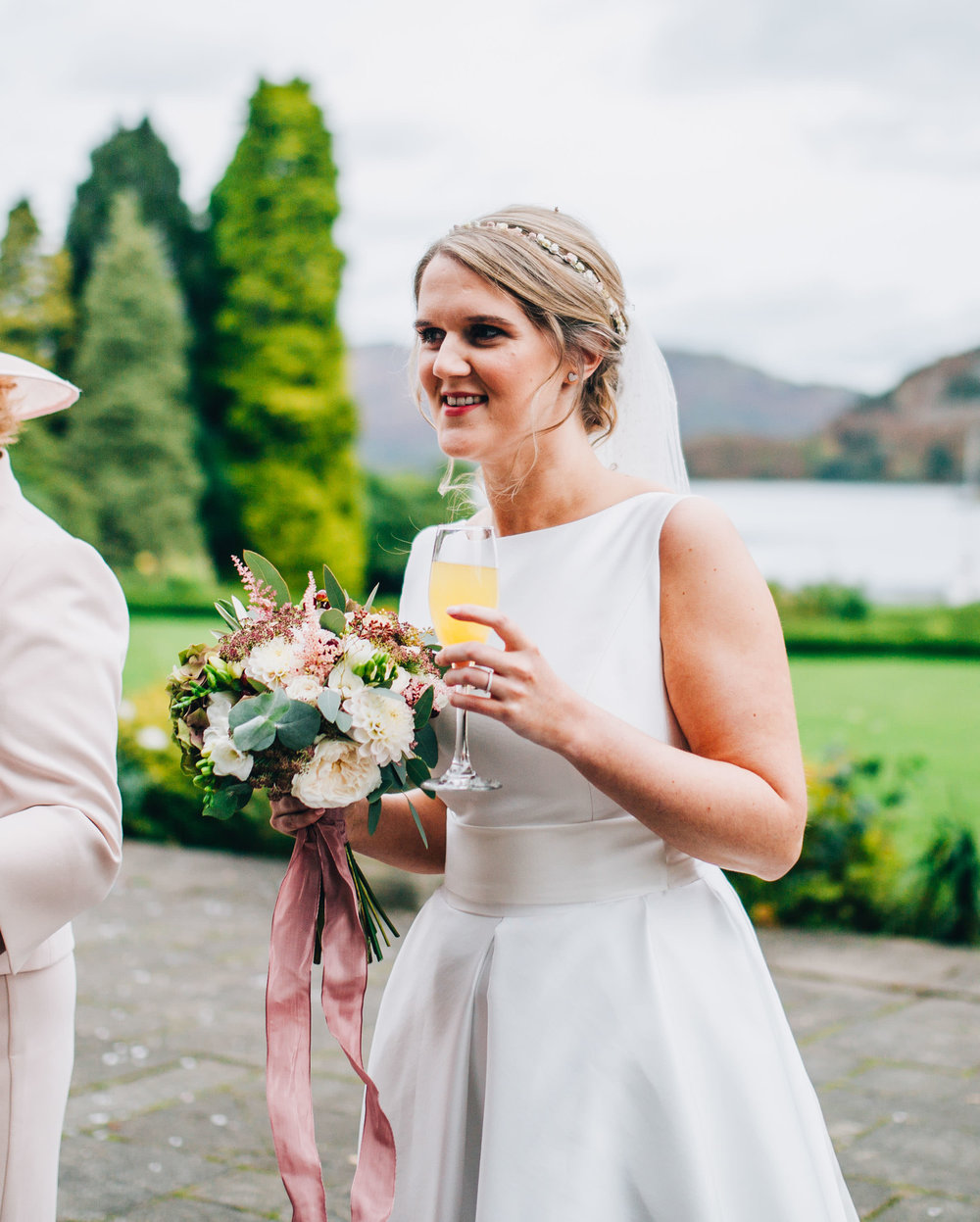 documentary images of the bride laughing