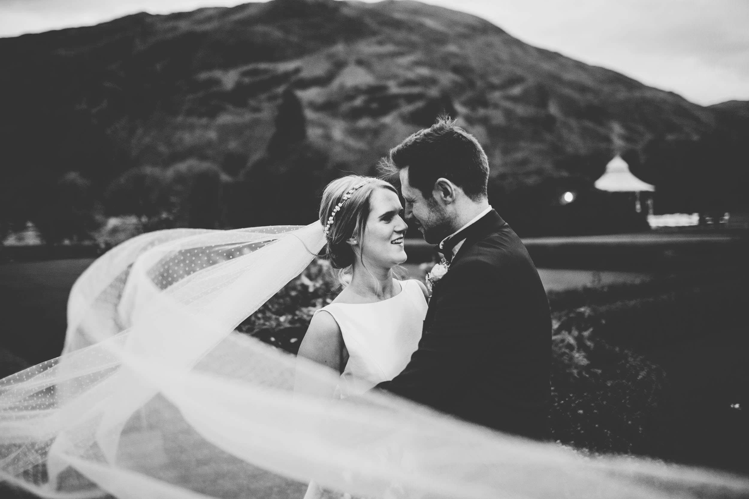 black and white wedding pictures in the Lake District