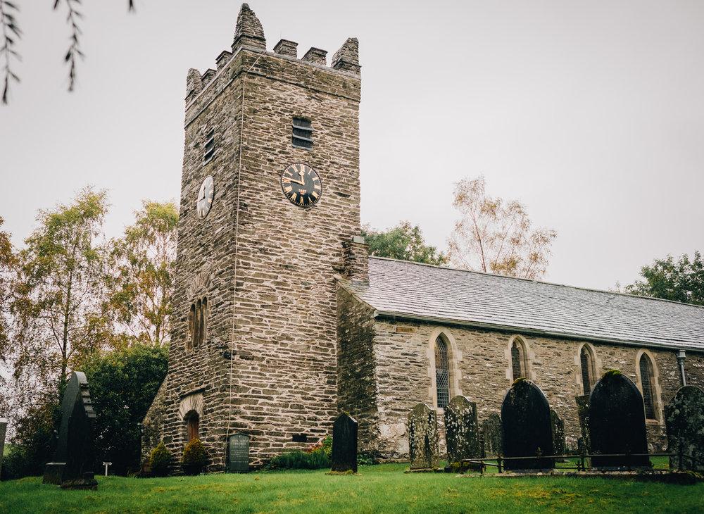 exterior shot of the church - Lake District wedding