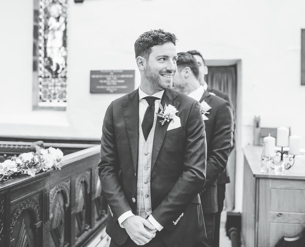 groom sees the bride for the first time - Lake District wedding