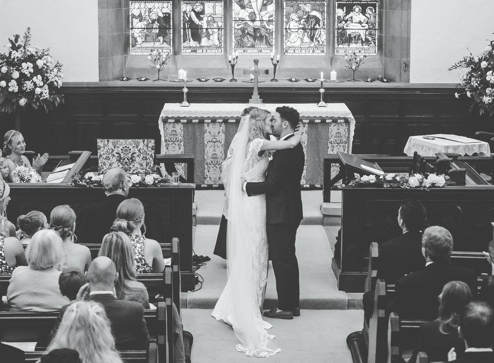 first kiss - lake district wedding day