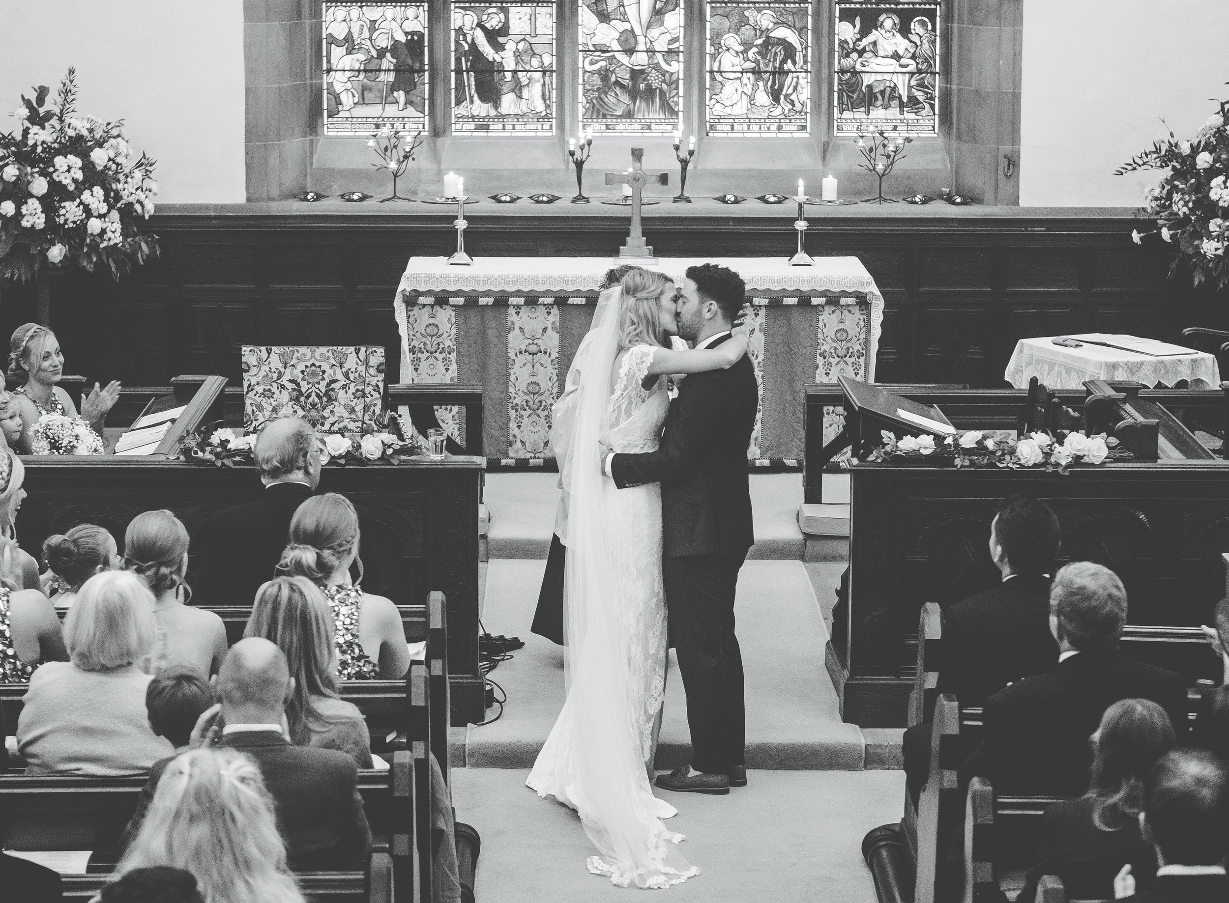 first kiss - wedding ceremony in the Lake District