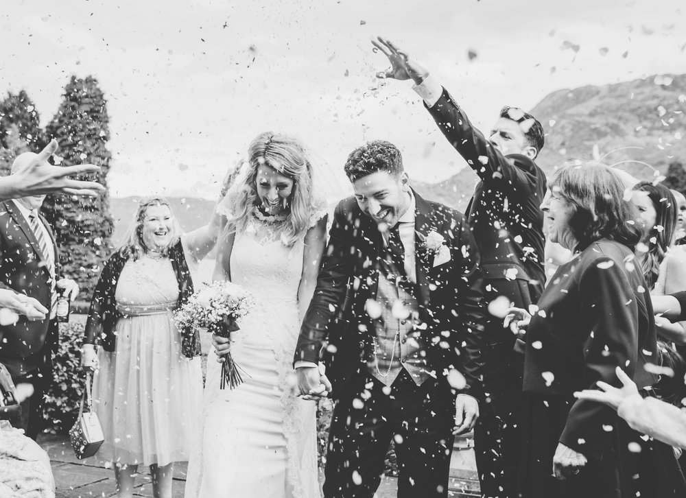 black and white confetti shot in the lakes
