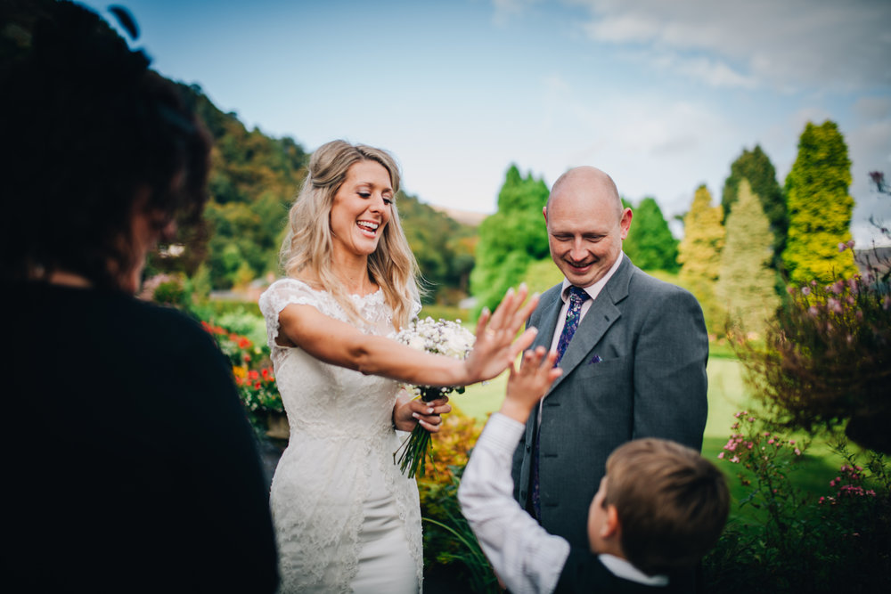 documentary wedding images - high five!