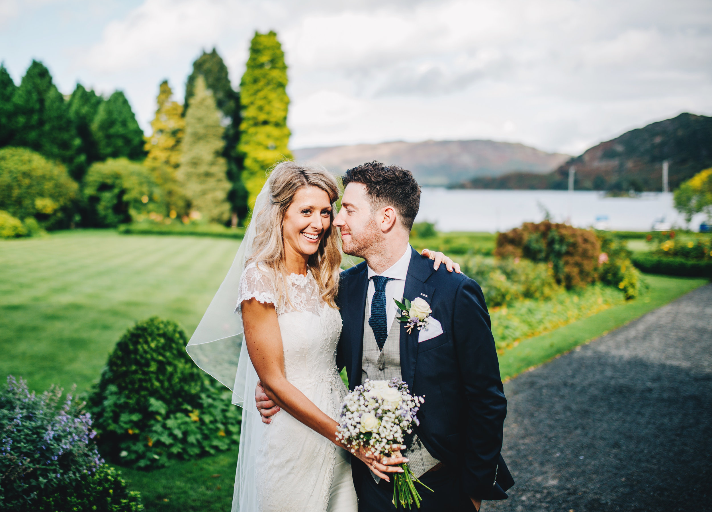 relaxed pictures of bride and groom - Inn on the Lake