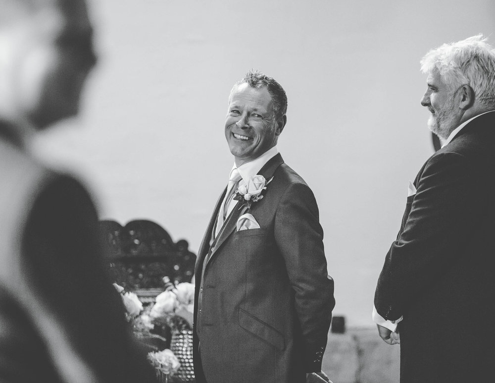 groom sees the bride for the first time - samlesbury hall wedding