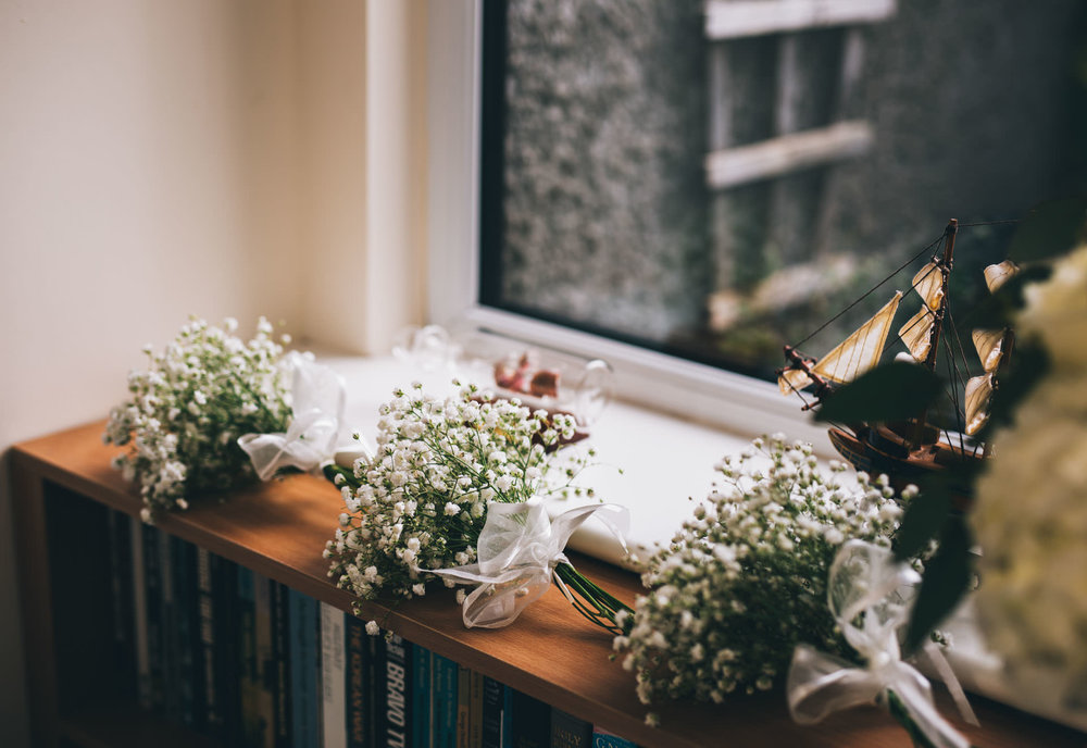 Lake District wedding photography - flowers on a windowsill