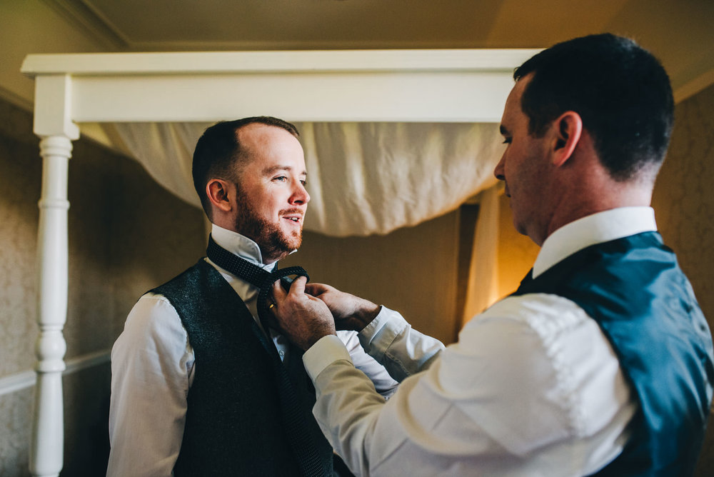 groom preparation at the Ryebeck hotel