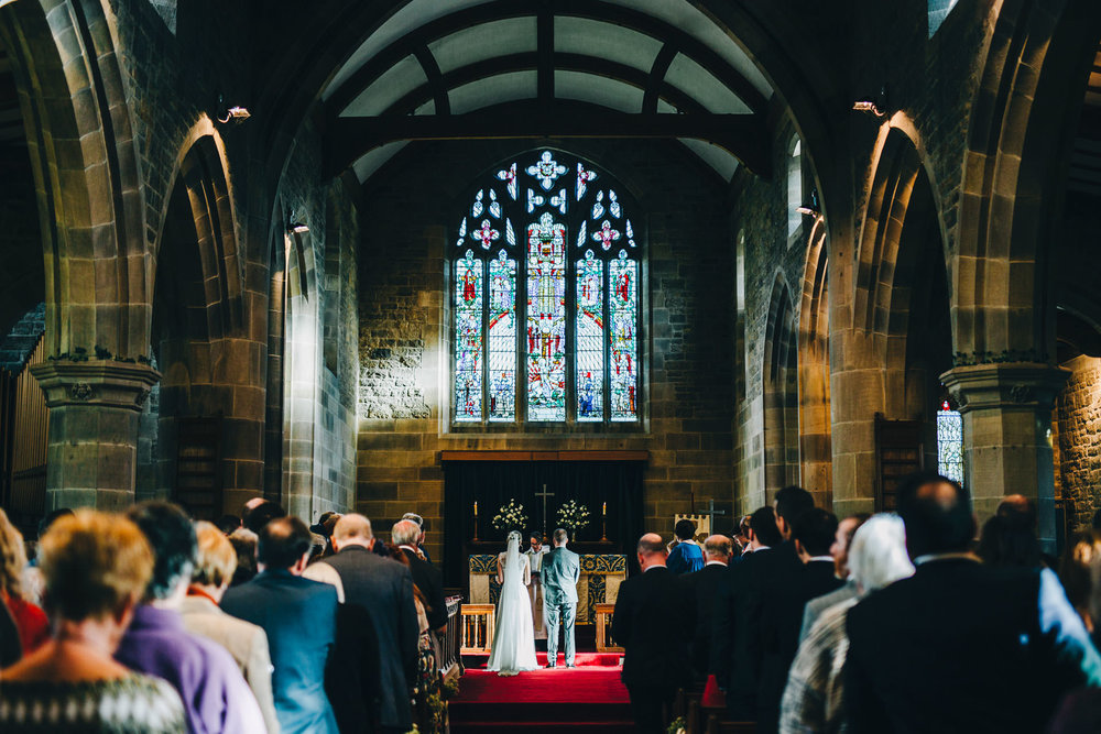 beautiful church wedding ceremony in the lakes