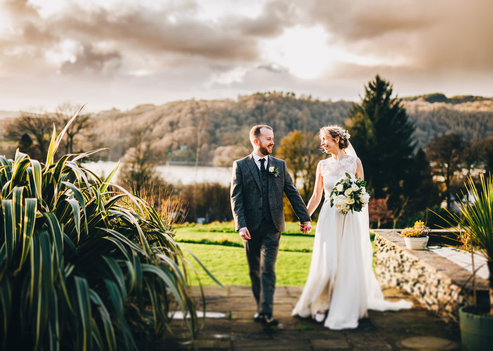 walking through the gardens at the Ryebeck Hotel - wedding pictures