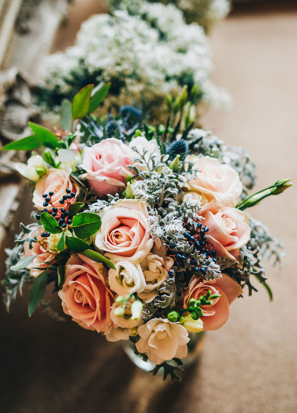 close up of bridal bouquet - fine art wedding photography Cheshire