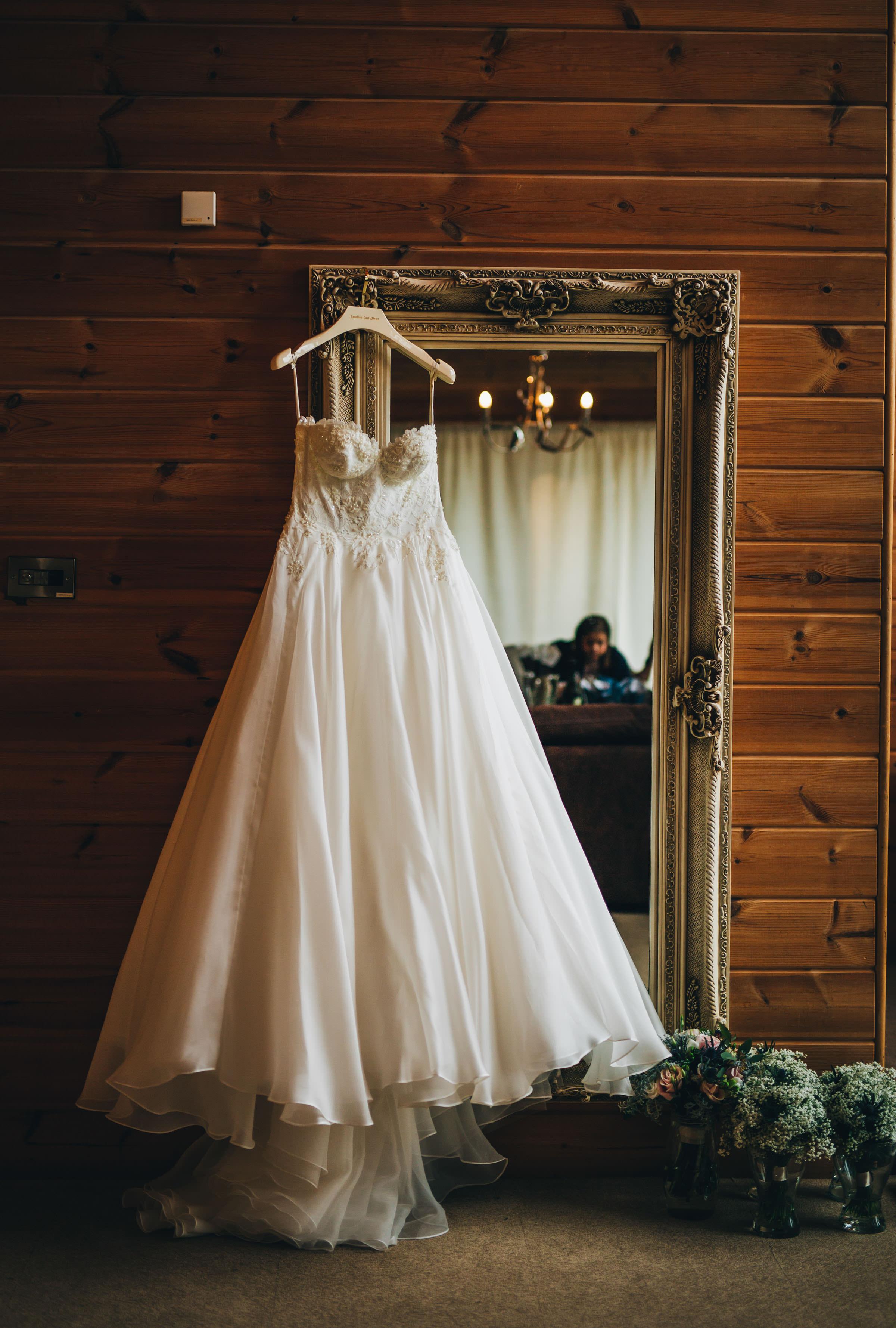 beautiful dress hanging at Styal Lodge