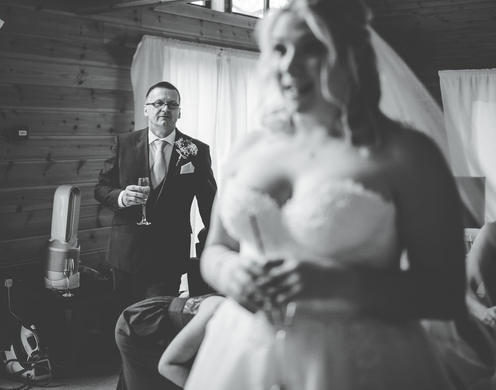 Dad looks at bride with pride