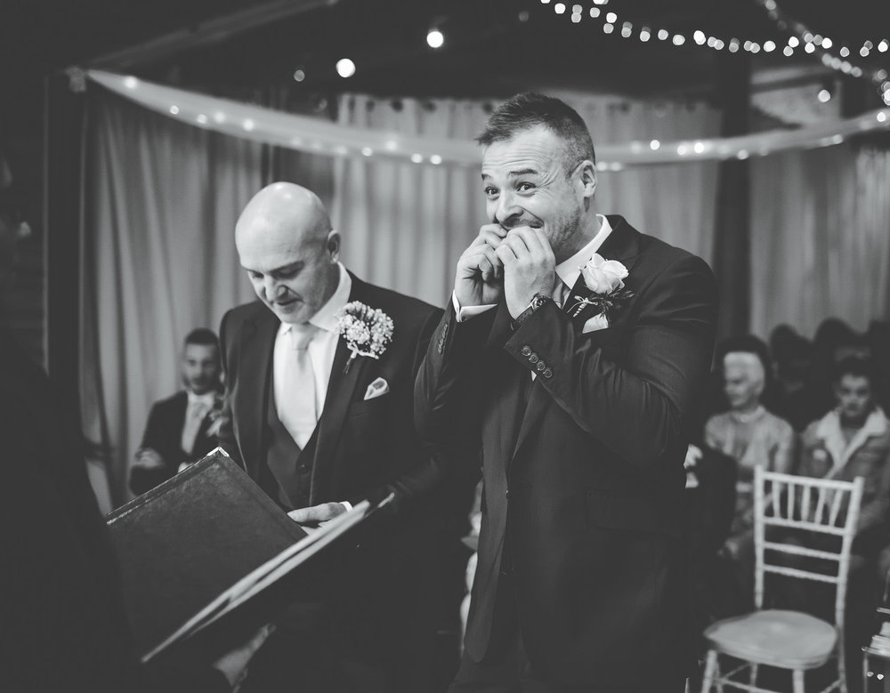groom waits nervously for the bride to arrive - cheshire wedding photography