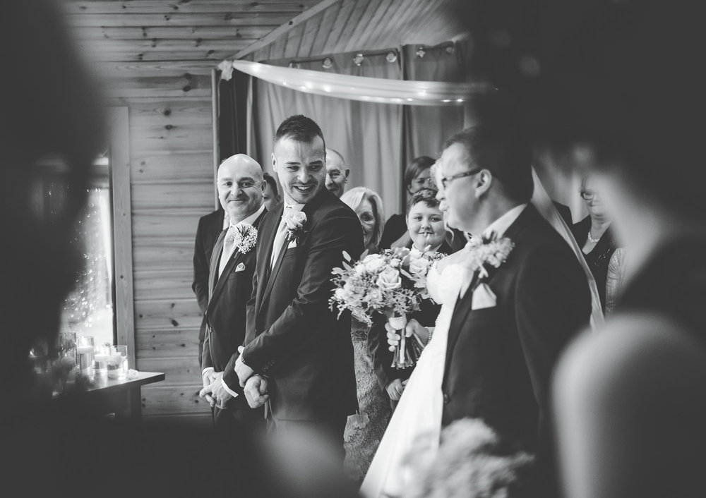 groom sees the bride for the first time - Cheshire wedding photographer