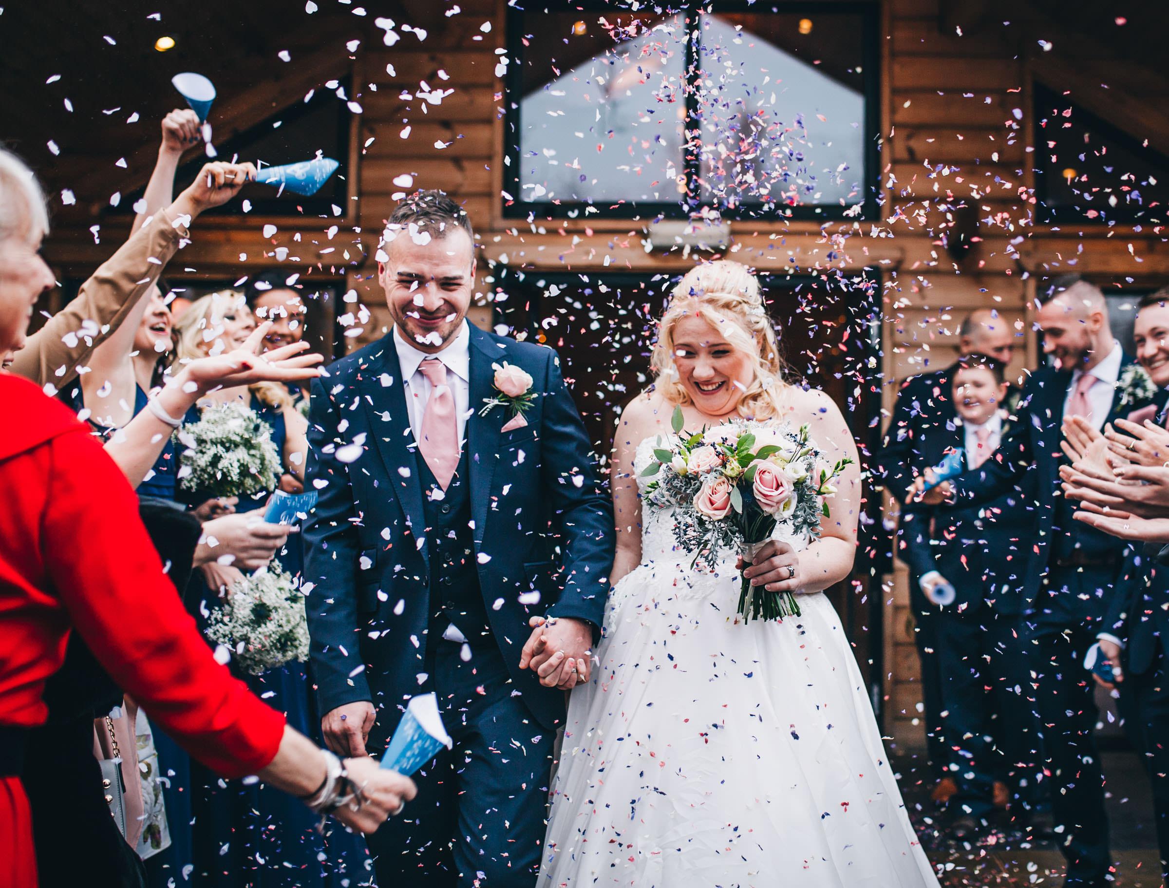 confetti - winter wedding cheshire
