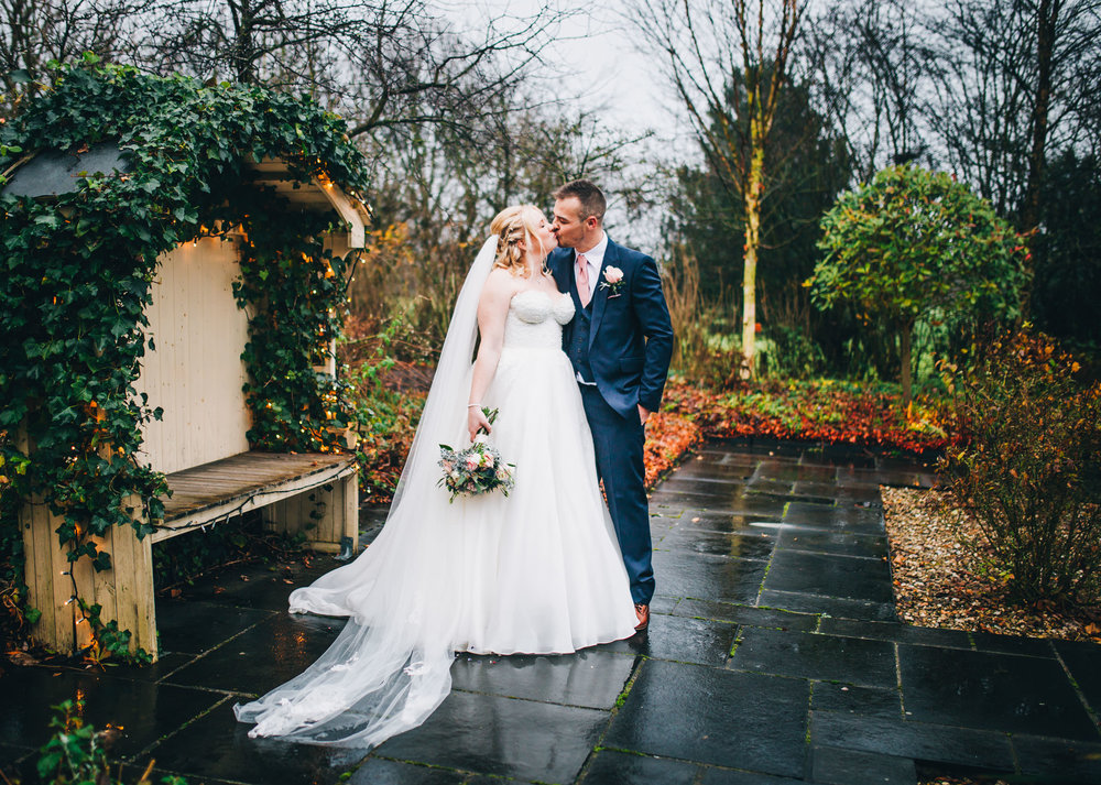 portrait of the bride and groom at styal lodge