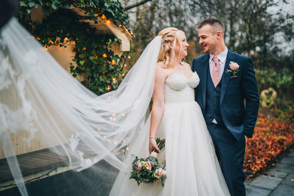 Styal Lodge wedding pictures - bride and groom in the gardens