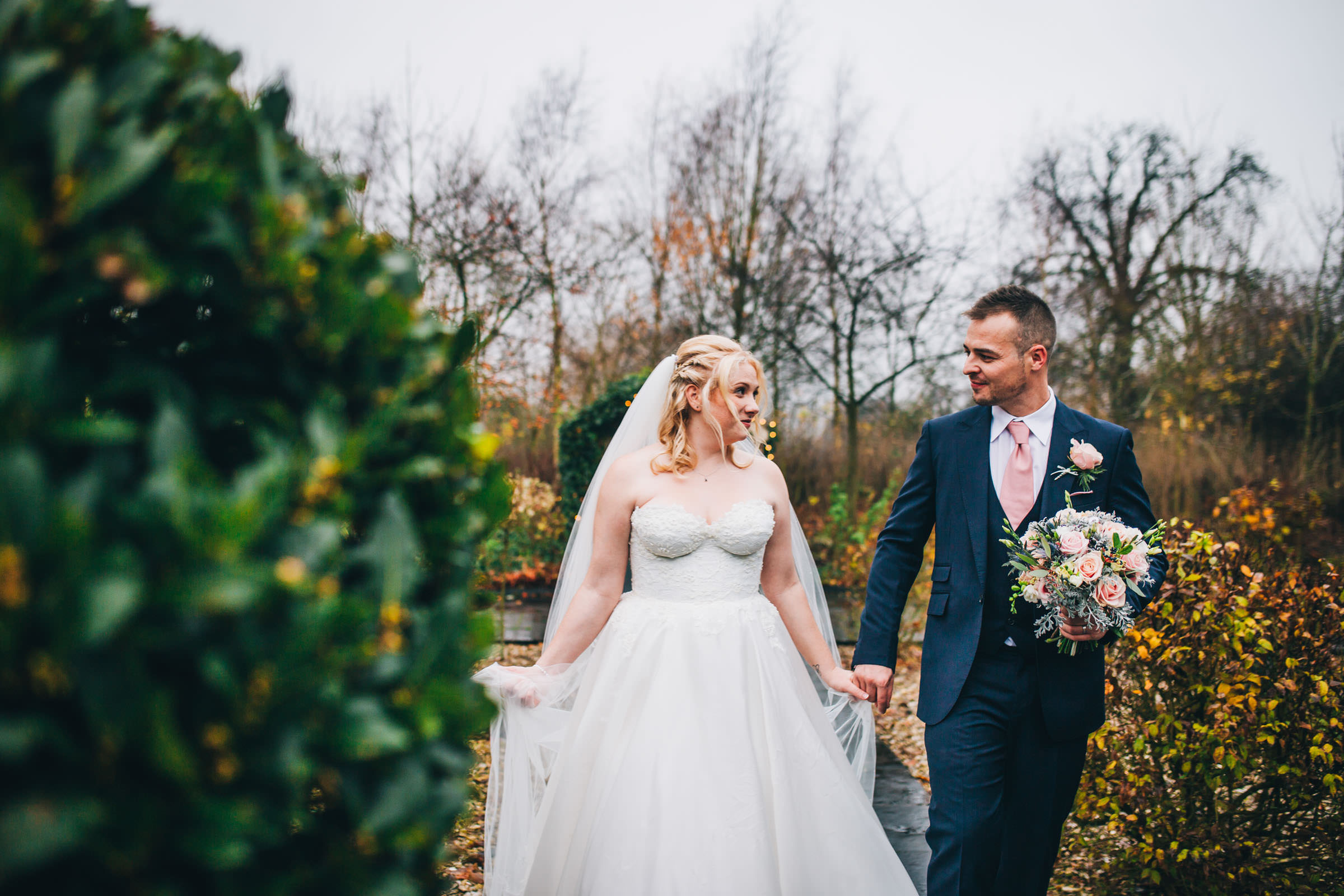 bride looks at groom - cheshire wedding