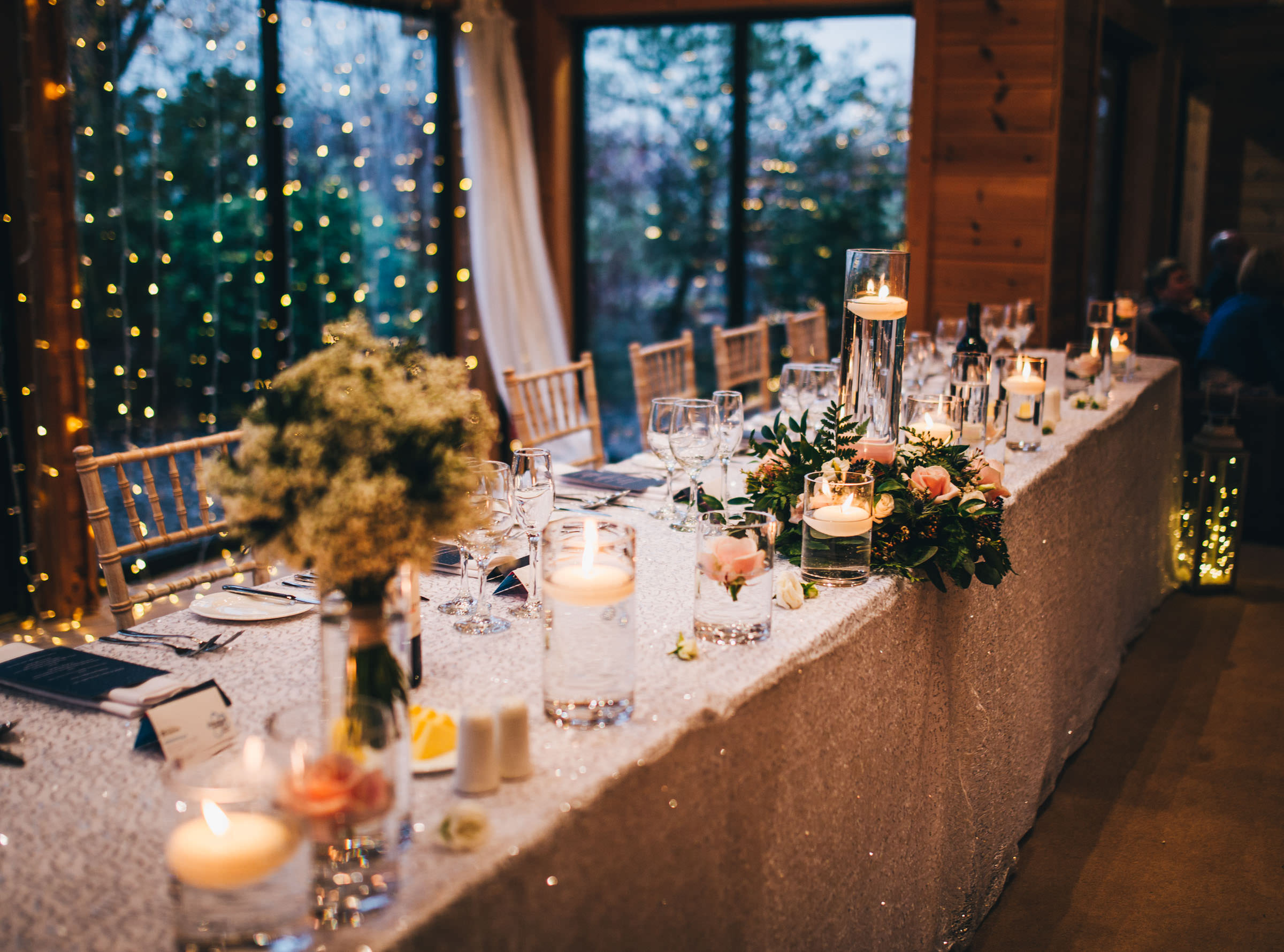 sparkly winter decor - Styal Lodge wedding