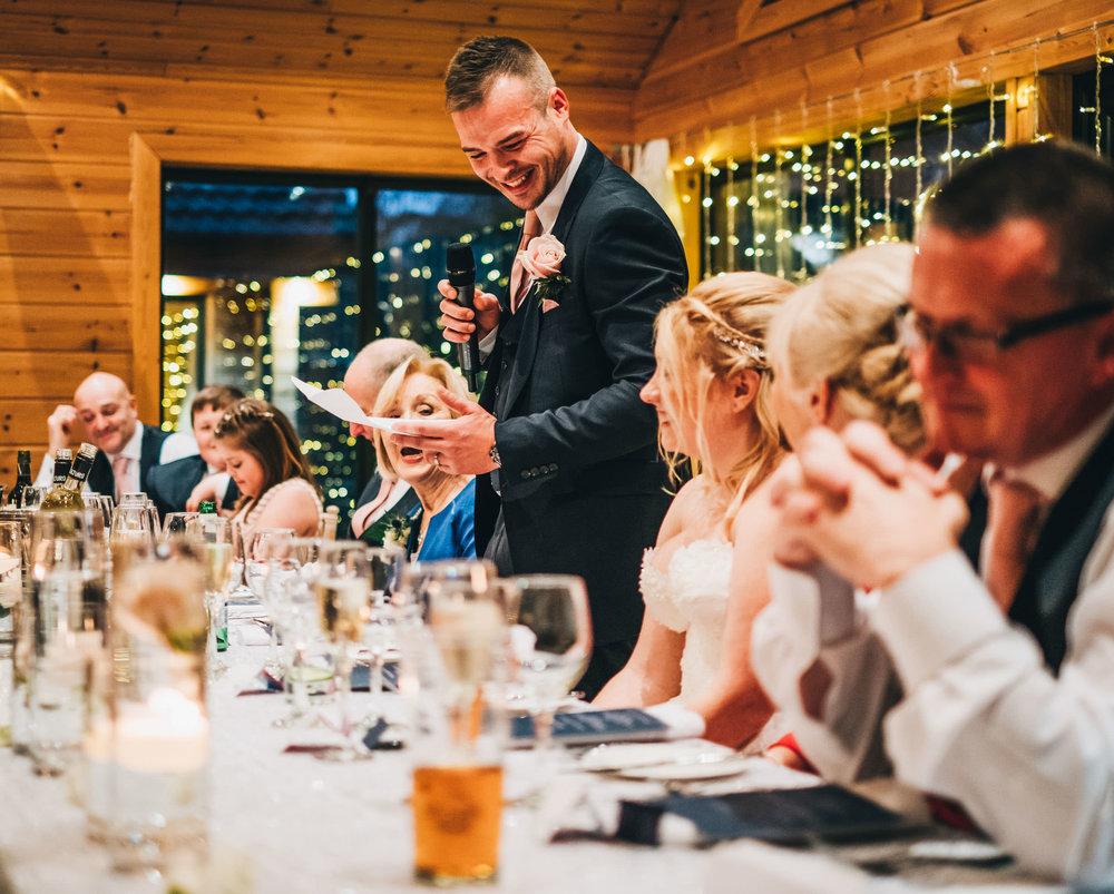 groom gives his speech at styal lodge