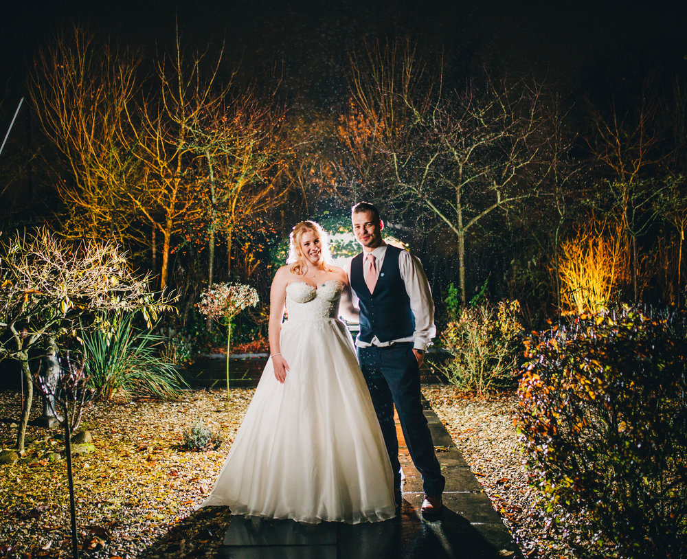 winter wedding portraits - off camera flash