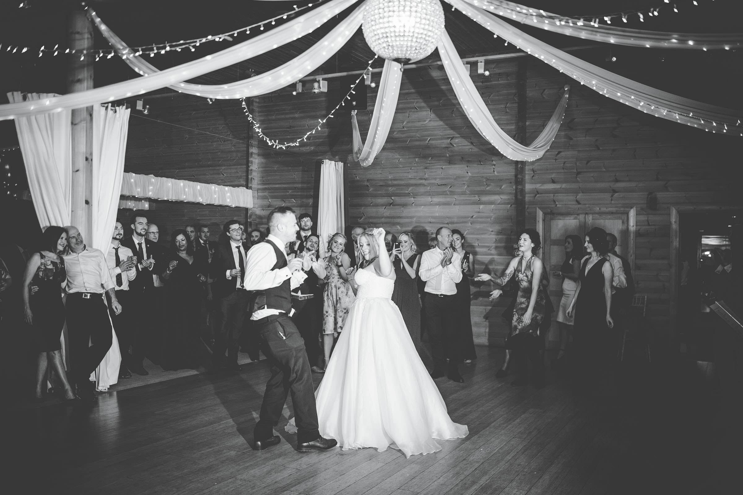 bride and groom dancing at cheshire wedding Styal Lodge