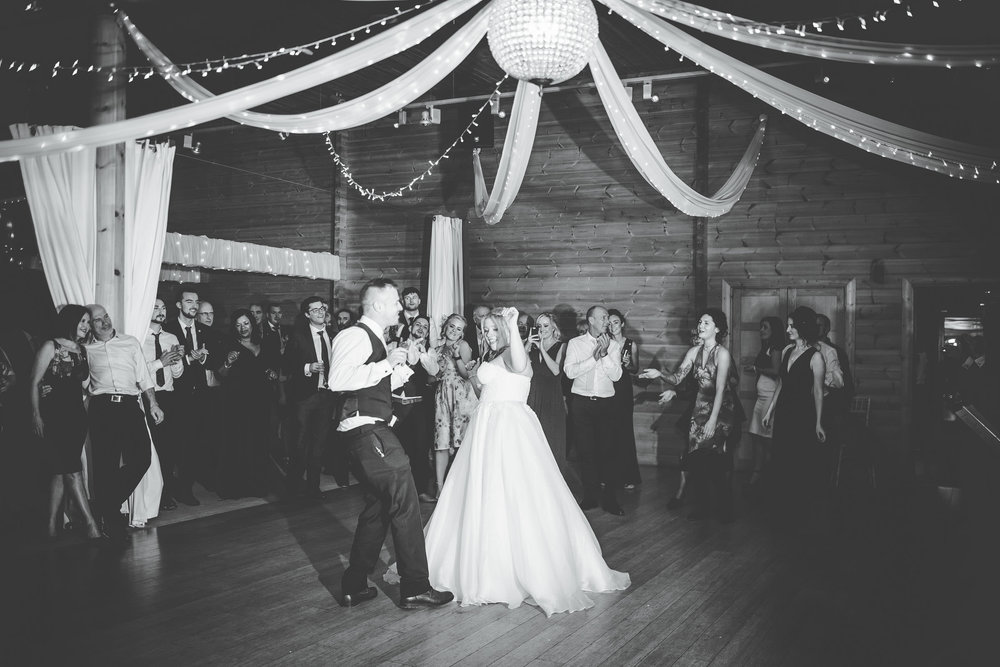 bride and groom dance at Cheshire wedding