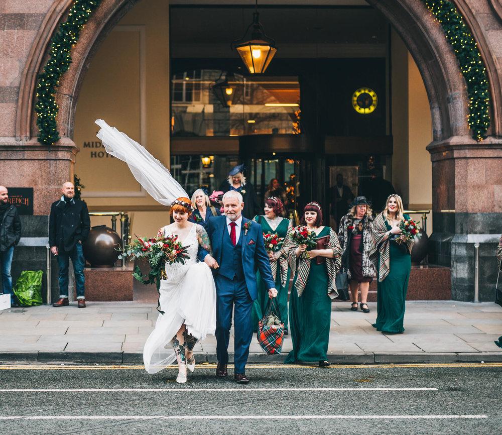 bride walking through Manchester City centre