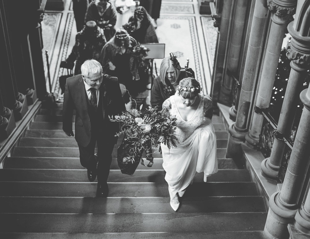 bridal party enters Manchester town hall