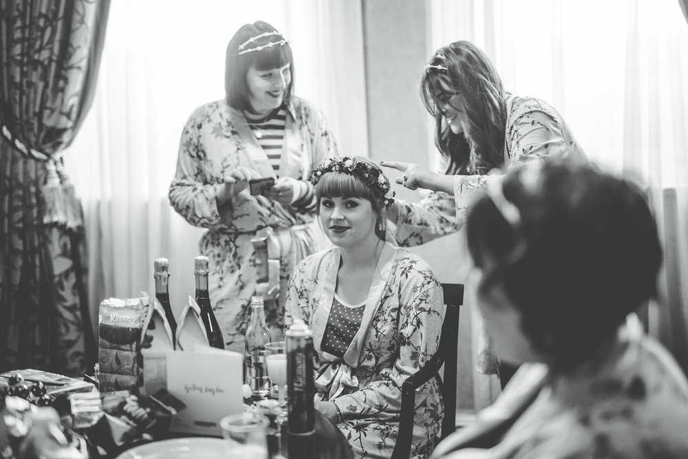 bride getting ready at Manchester wedding - creative wedding photography