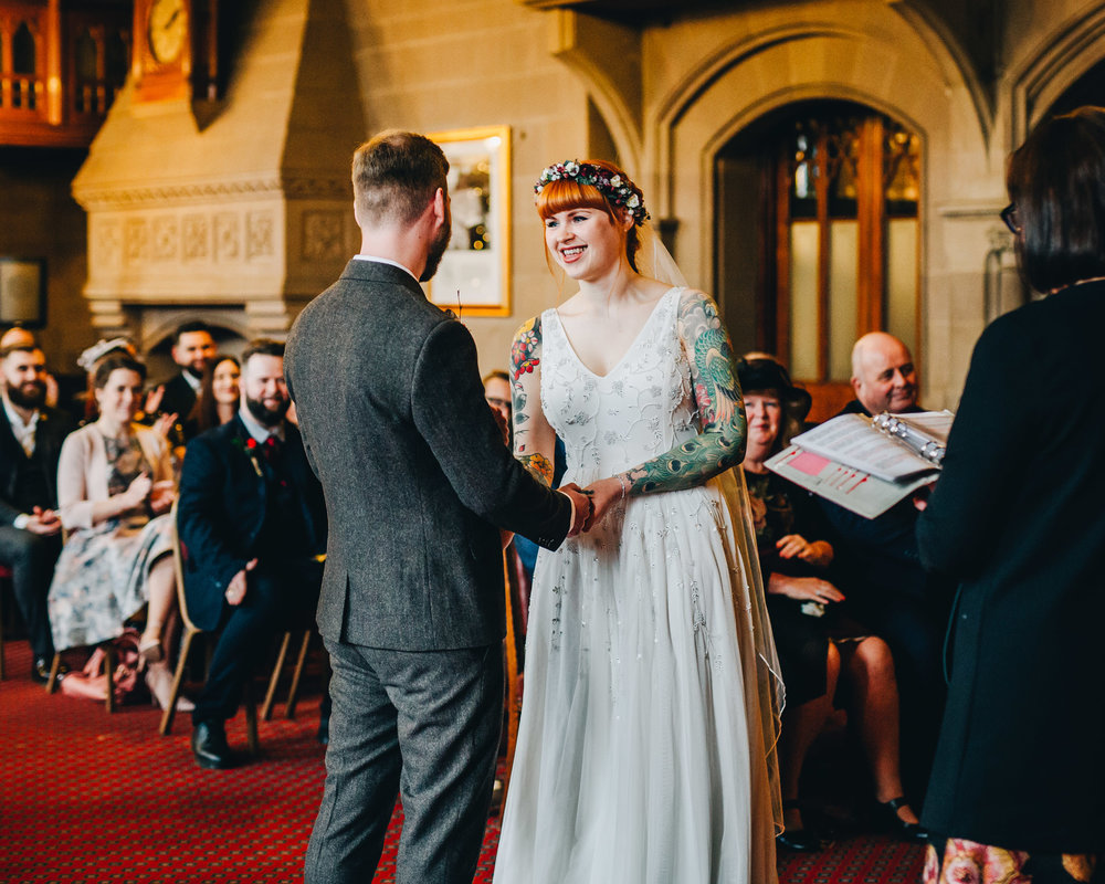 documentary style wedding photography at Manchester town hall - the ceremony