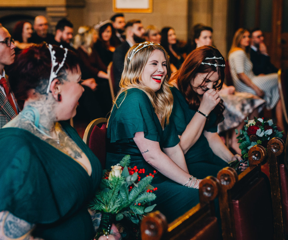 giggling bridesmaid - documentary wedding pictures manchester