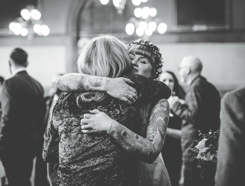 natural images of guests at Manchester wedding