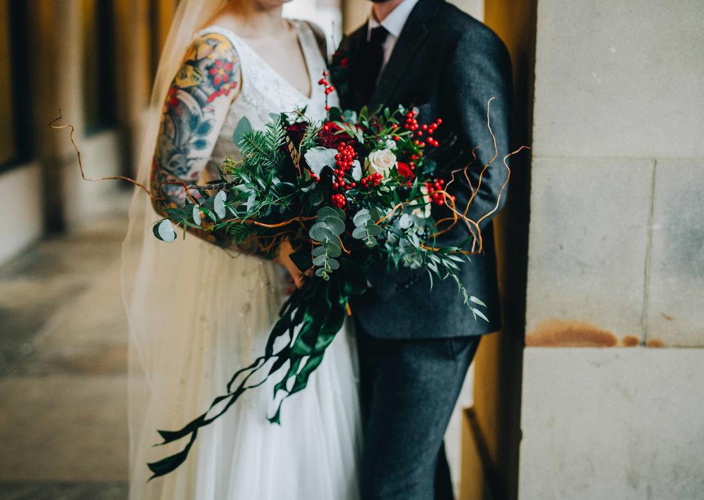 close of bride's winter bouquet