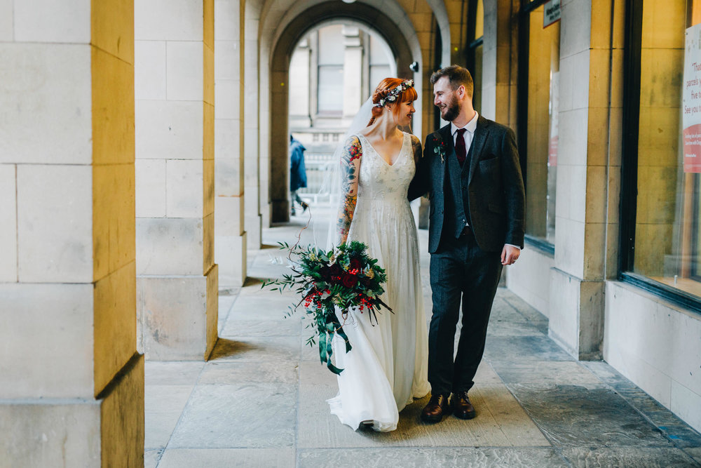 strolling through the streets of Manchester - bride and groom images Manchester