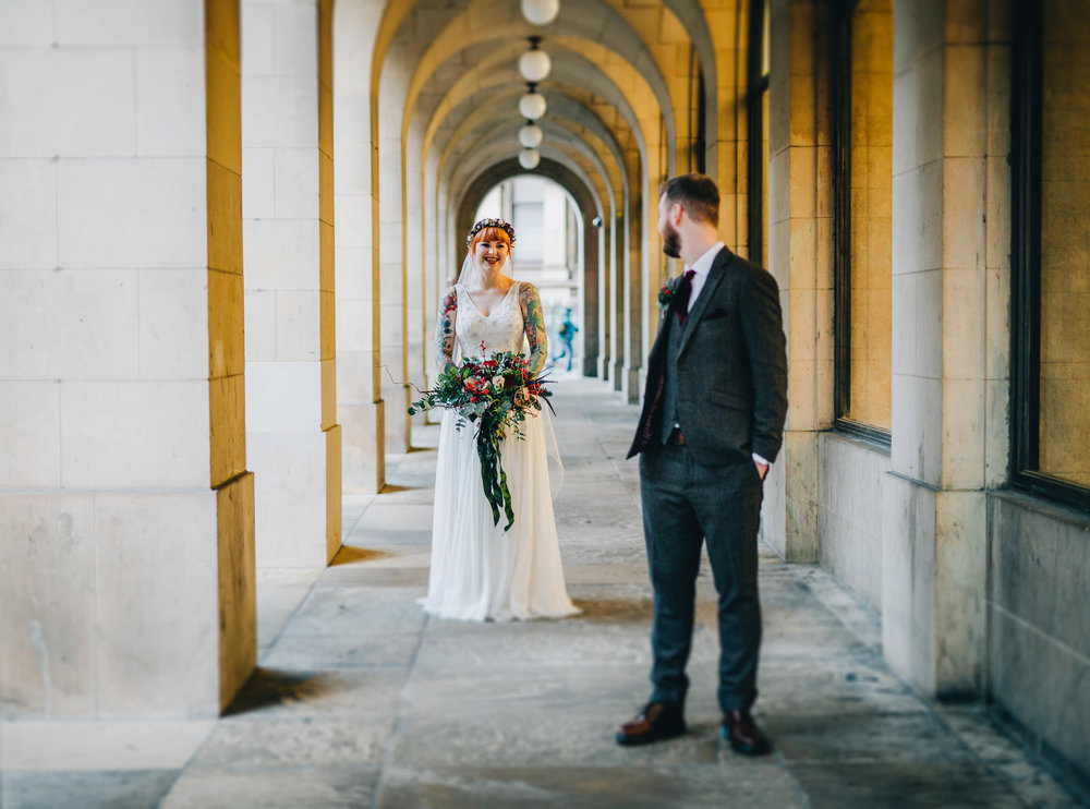 fun and stylish wedding portraits in manchester