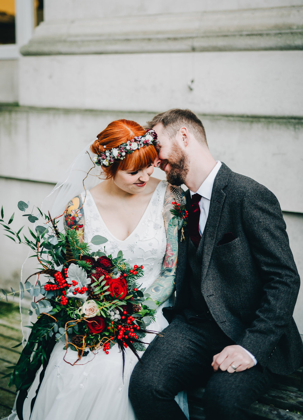 cool and alternative wedding couple in Manchester City centre