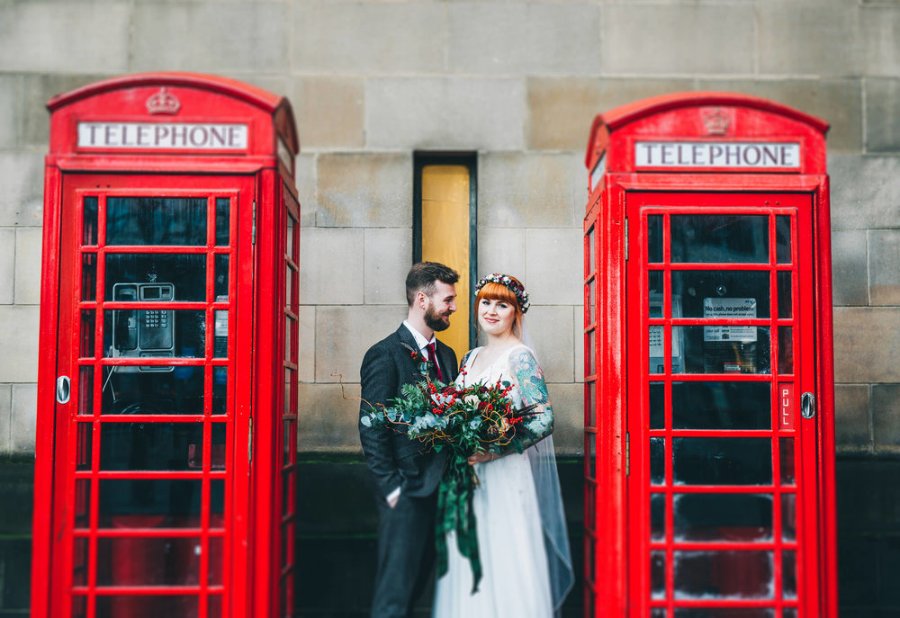 iconic red phone boxes - bride and groom portraits